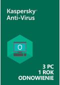Kaspersky Anti-Virus (3 PC / 1 Rok) - Odnowienie - PL